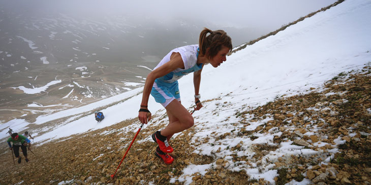 Laura Orguè, Vertical Skyrunning World Champion, winner and record holder at Face de Bellevarde VK. ©iancorless.com