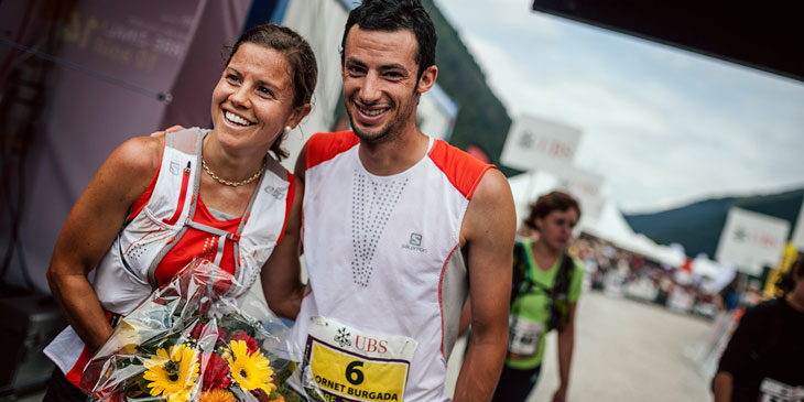 Sierre-Zinal race winners Stevie Kremer and Kilian Jornet. © Jordi Saragossa