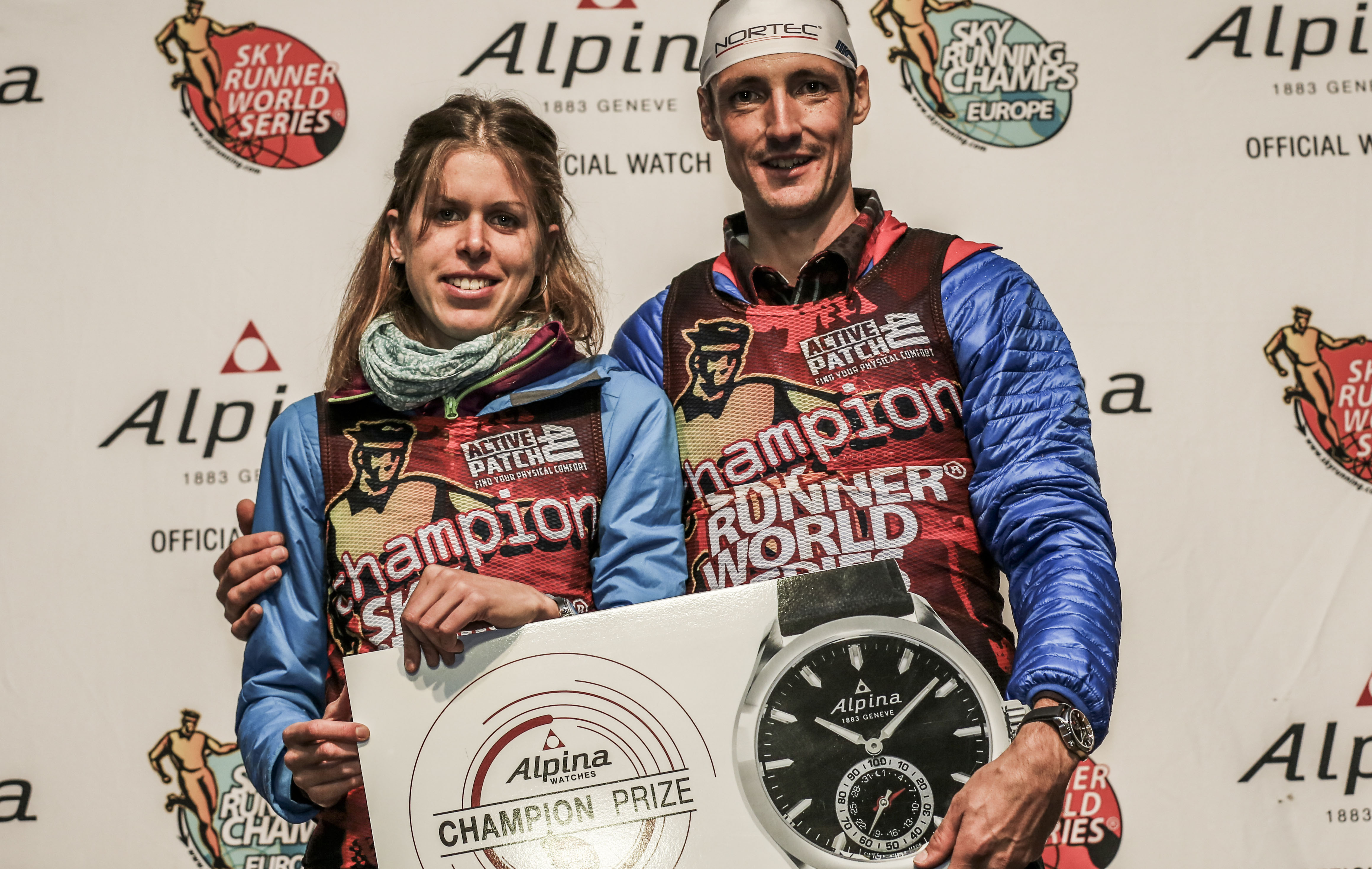 Sky Series Champions Laura Orgue & Tadei Pivk receive Alpina Smartwatch. (c)iancorless.com