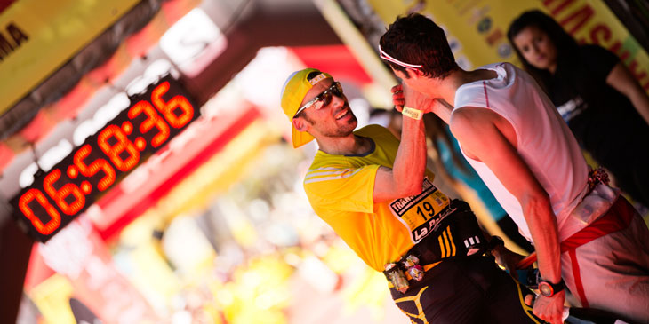 Two great Spanish champions Luis Alberto Hernando and Kilian Jornet at the Transvulcania finish line. © Jordi Saragossa