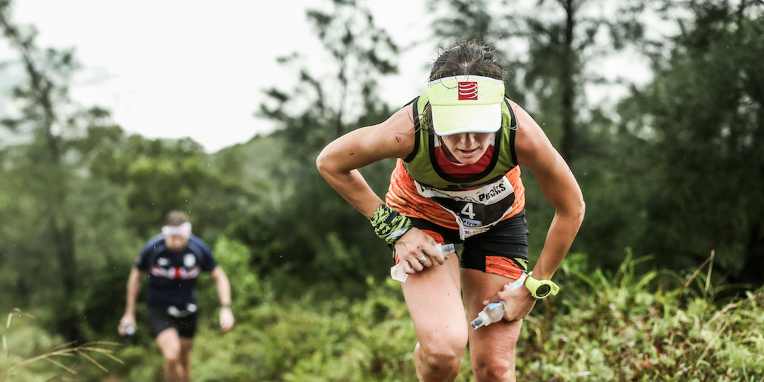 Compressport athlete Azara Garcia struggles through the storm. (c)iancorless.com