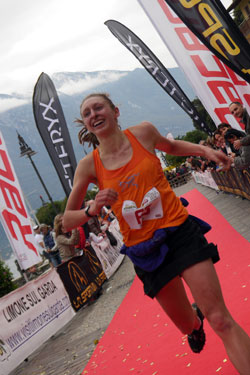 Tessa Hill crosses the finis line at Limone. (C)iancorless.com